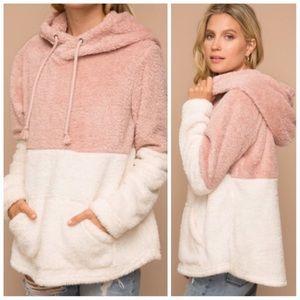 Pink ivory soft fuzzy hoodie sweater